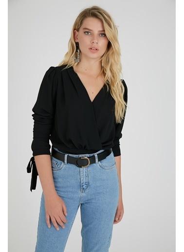 Setre Kruvaze Bluz Siyah